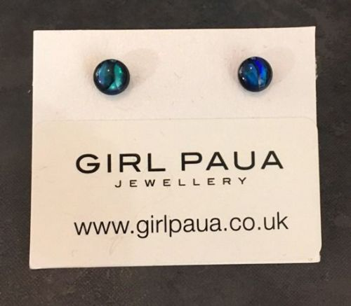 Paua Stud Earrings PE04 5mm BLUE CIRCLE (xx small-1)